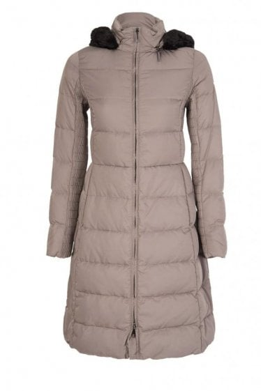 Armani Jeans Women's Hooded Long Down Coat Beige