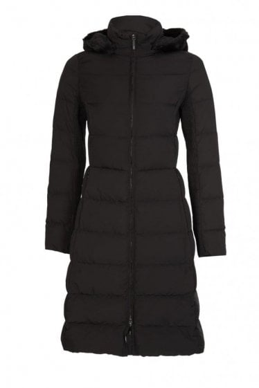 Armani Jeans Women's Hooded Long Down Coat Black