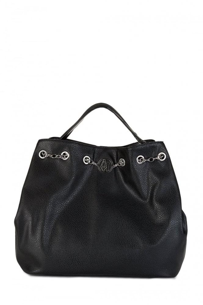 Armani Jeans Womens Large Chain Strap Shoulder Bag Black