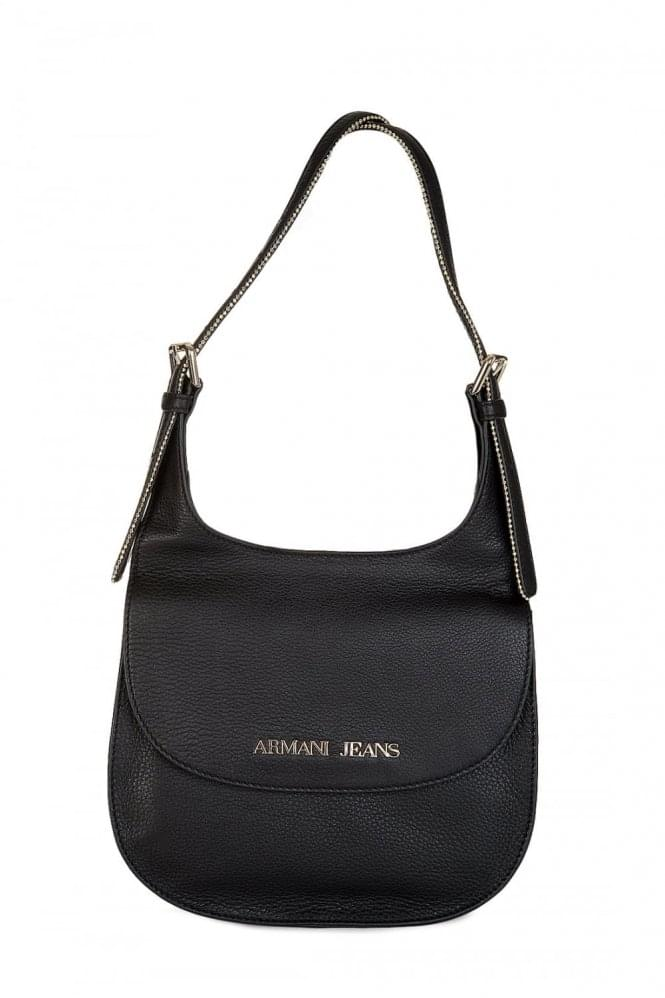 Armani Jeans Womens Leather Shoulder Bag Black