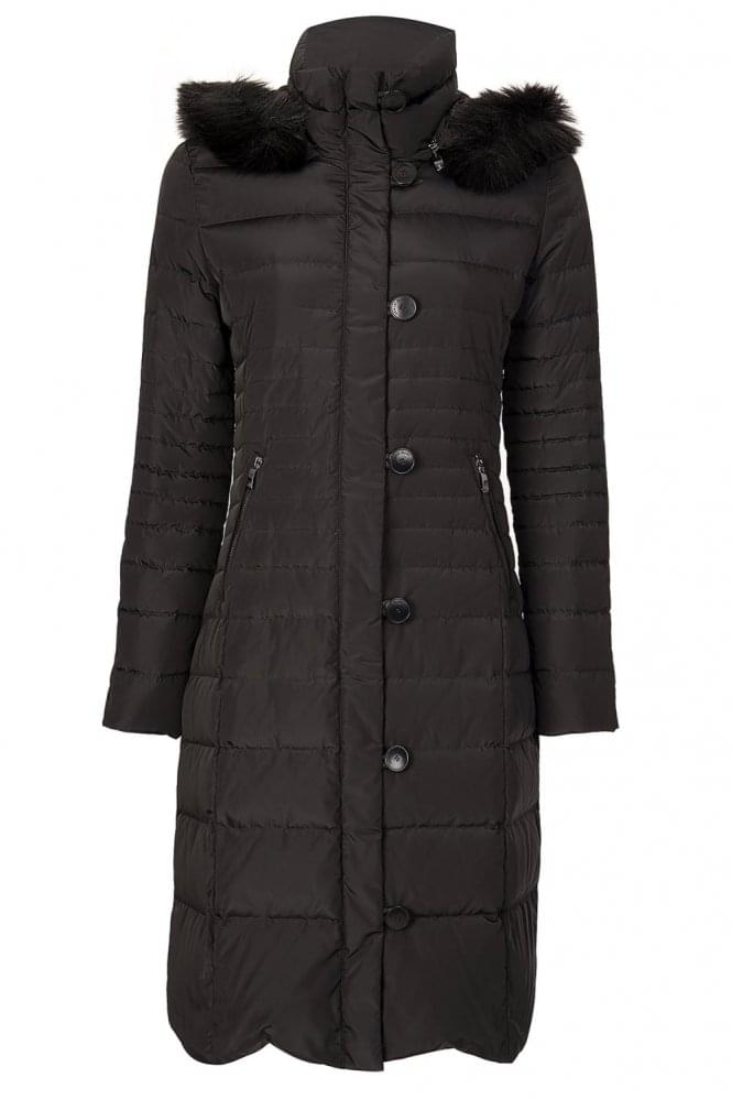 ARMANI Jeans Womens Long Down Jacket Black