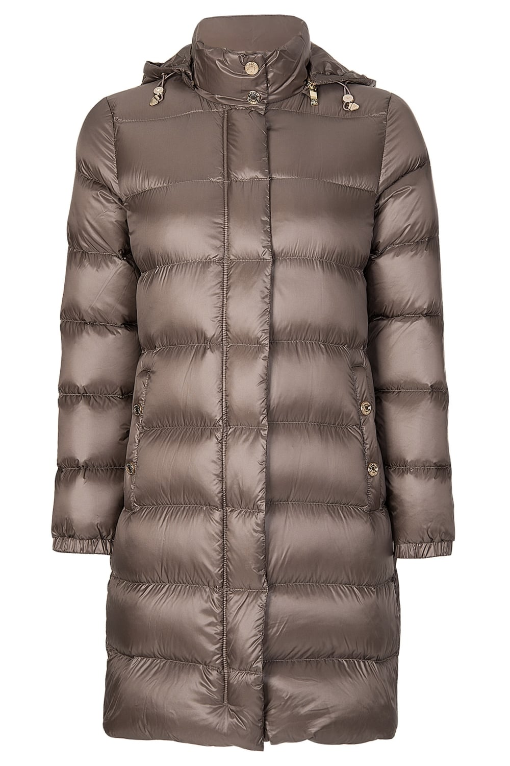 a2ca0cb66770 Armani Jeans Womens Long Down Puffer Coat Taupe