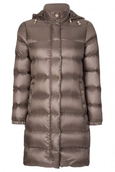 Armani Jeans Womens Long Down Puffer Coat Taupe