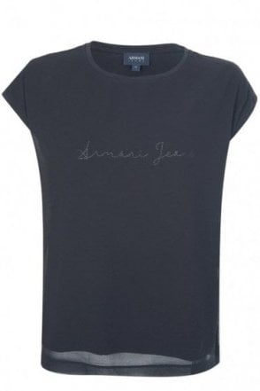 Armani Jeans Womens Mesh Overlay Blouse