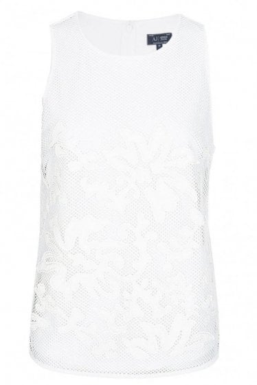 Armani Jeans Womens Mesh Top White