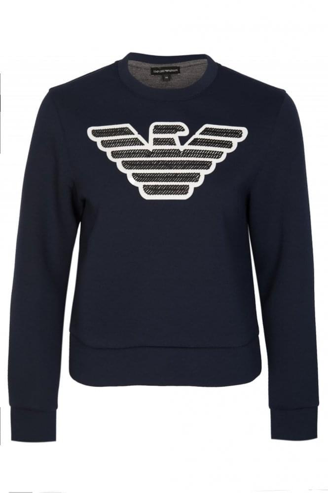 Armani Jeans Womens Neoprene Sweatshirt Navy