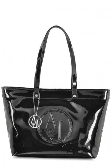 Armani Jeans Womens Small Patent Shopper Black