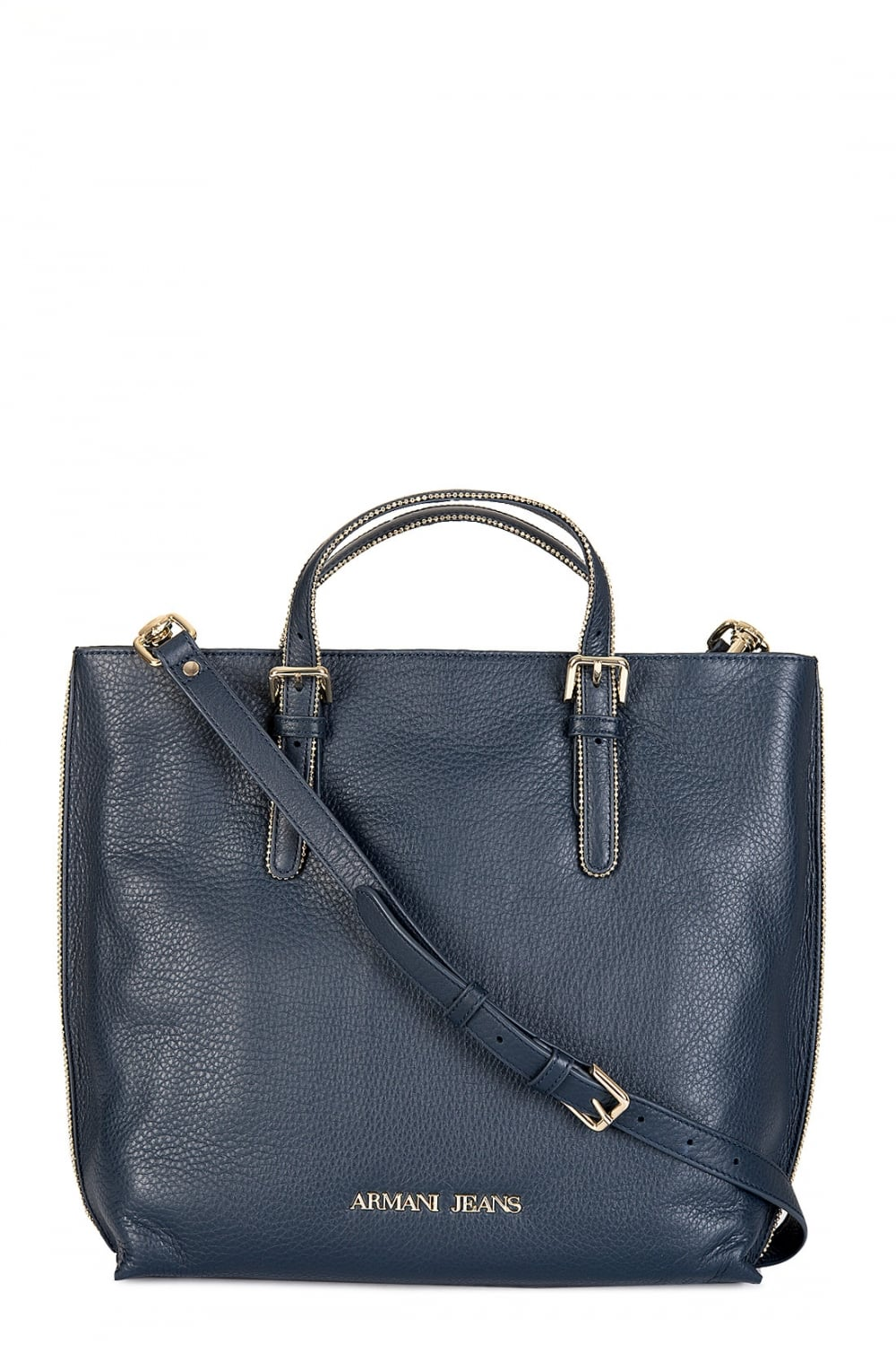 Armani Jeans Women s Tall Leather Tote Bag Navy