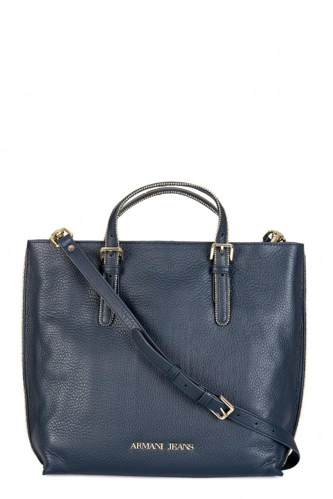 ARMANI Jeans Women's Tall Leather Tote Bag Navy