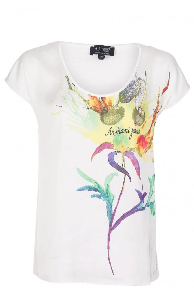 ARMANI Jeans Women's Watercolour T-Shirt White