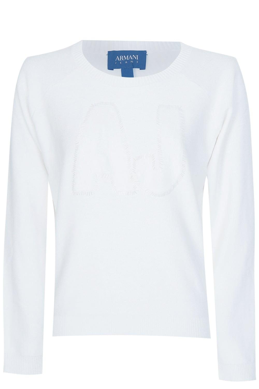 4bbb5f60 Armani Jeans Women's White Sequin Logo Jumper
