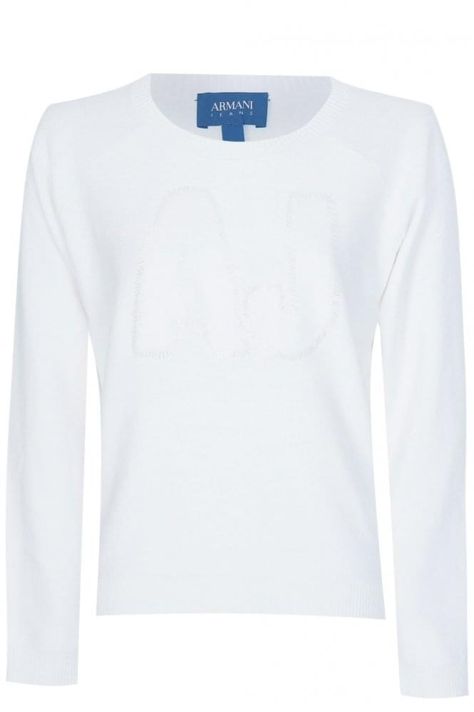 Armani Jeans Womens White Sequin Logo Jumper