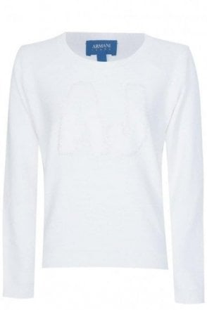 Armani Jeans Women's White Sequin Logo Jumper