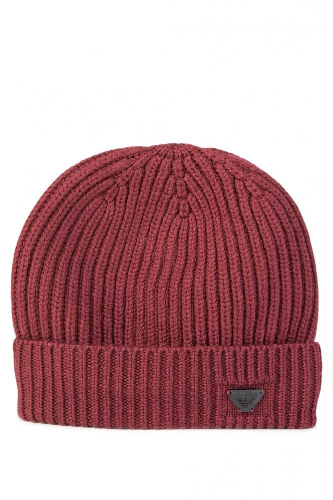 Armani Jeans Wool Knit Beanie Burgundy