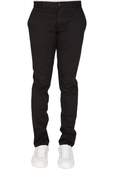 Armani Slant Pockets Tapered Chinos Black