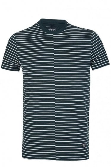 Armani Striped T Shirt Green
