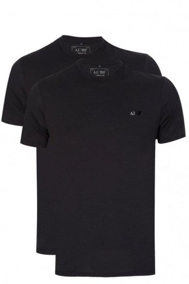 Armani Twin Pack T-Shirt Black