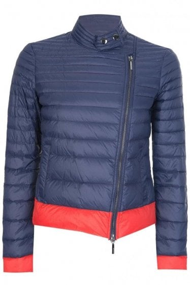 Armani Women's Asymmetric Zip Quilt Jacket Navy
