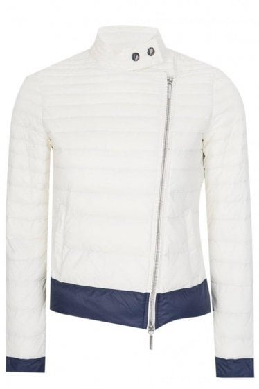 Armani Women's Asymmetric Zip Quilt Jacket White