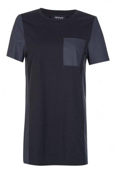 Armani Women's Contrasting Pocket + Panels T-Shirt Navy