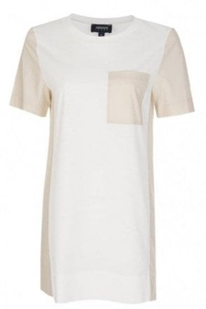 Armani Women's Contrasting Pocket + Panels T-Shirt White