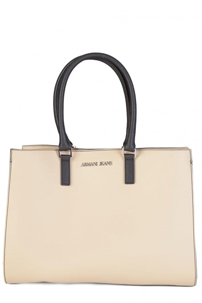 ARMANI Women's Contrasting Side Panels Shopper Stone