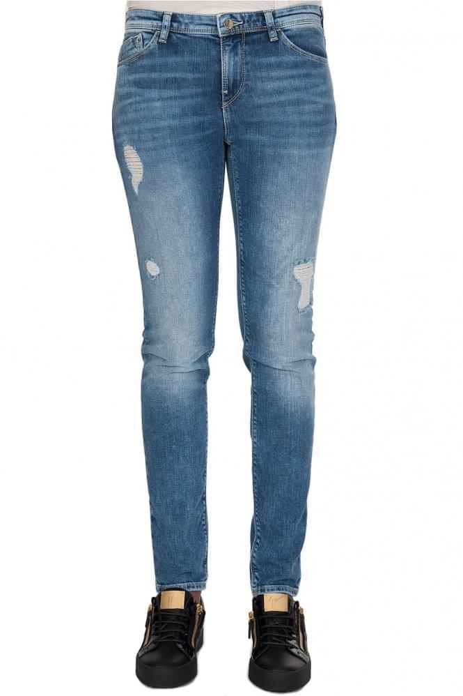 Armani Women's J28 Orchid Skinny Fit Denim Jeans Blue
