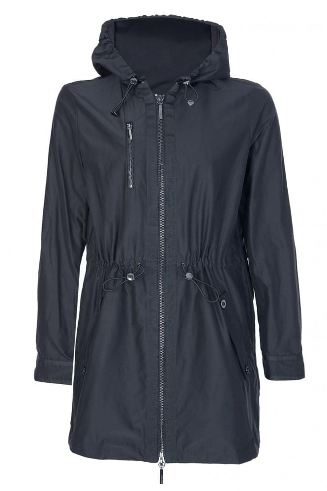 armani-womens-nylon-hooded-coat-black