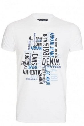 Armani Jeans All Over Logo Tshirt White