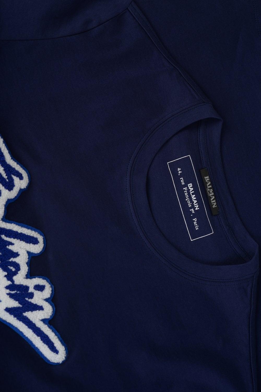 17f8c9d9 BALMAIN Neon Signature T-shirt Navy - Clothing from Circle Fashion UK