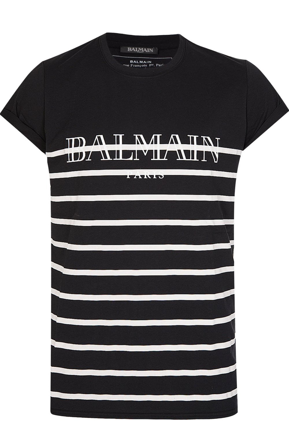 3b5b55d9 Balmain Paris Black Stripe Crew Neck T-shirt