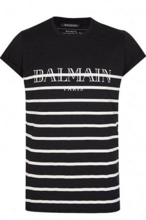 Balmain Paris Black Stripe Crew Neck T-shirt