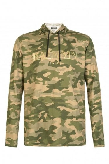Balmain Paris Camo Hooded Sweatshirt