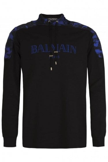 Balmain Paris Camouflage Shoulder Detail Hoodie Black