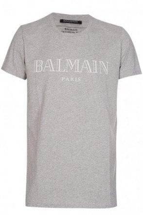 Balmain Paris Chest Logo T-Shirt Grey