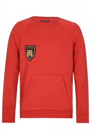 Balmain Paris Coates Logo Sweatshirt Red