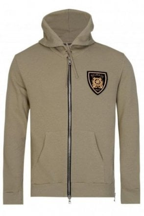 Balmain Paris Coats Badge Hooded Sweatshirt Khaki