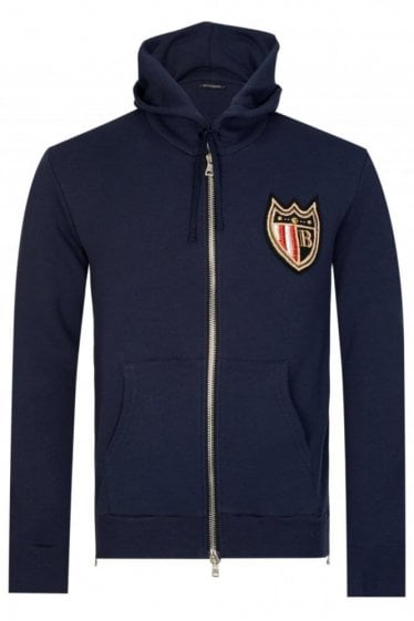 Balmain Paris Coats Badge Hooded Sweatshirt Navy