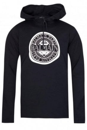 Balmain Paris Coin Logo Hooded Sweatshirt Navy