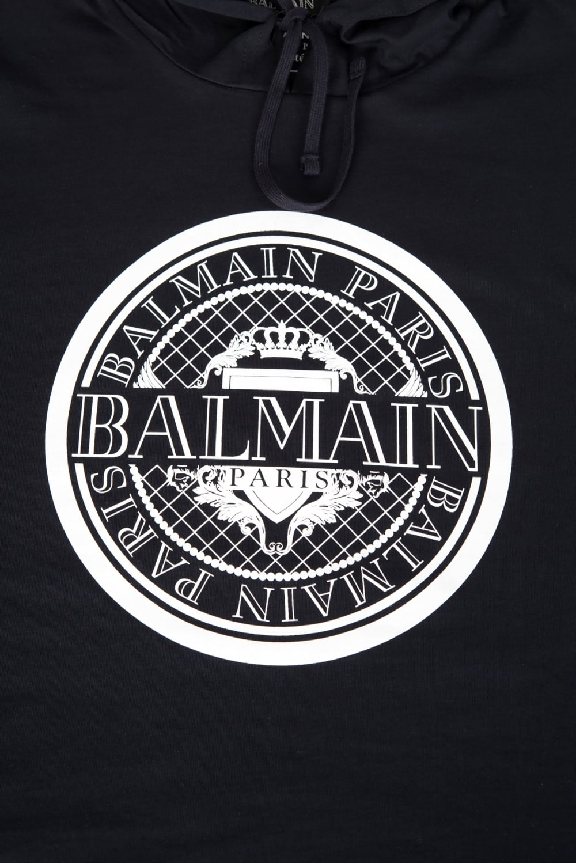 Balmain Paris Coin Logo Hooded Sweatshirt Navy