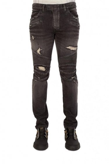 Balmain Paris Distressed Biker Jeans Charcoal
