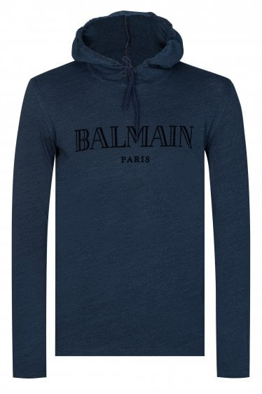 Balmain Paris Logo Hooded T-shirt