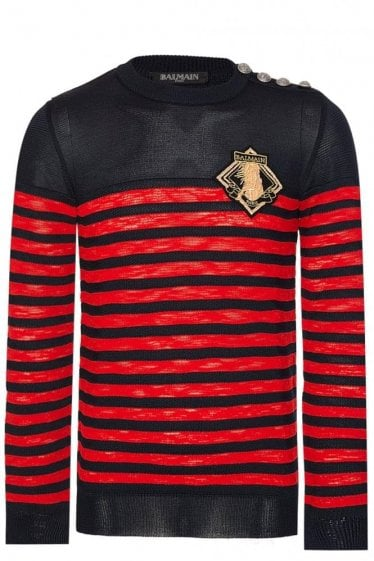 Balmain Paris Marine Stripe Knit Jumper