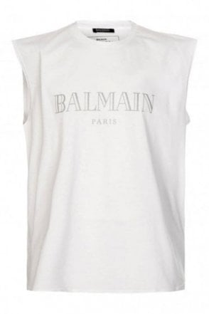 Balmain Paris Oversized Tank Top White