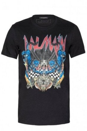 Balmain Paris Panther Logo Cotton T-Shirt Black