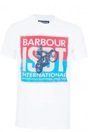 Barbour International ISDT Motorcycle Print T-Shirt White