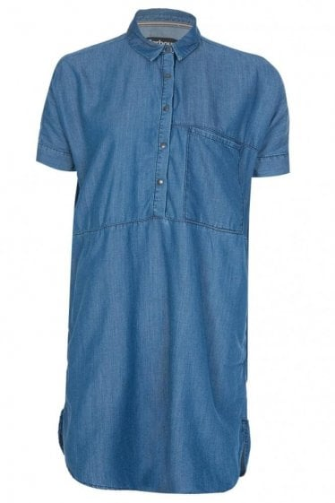 Barbour International Women's Chambray Denim Fairing Dress Blue