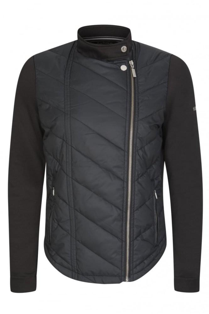 BARBOUR International Women's Dunnet Quilted Front Zip Sweatshirt Black