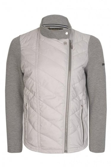 Barbour International Women's Dunnet Quilted Front Zip Sweatshirt Grey