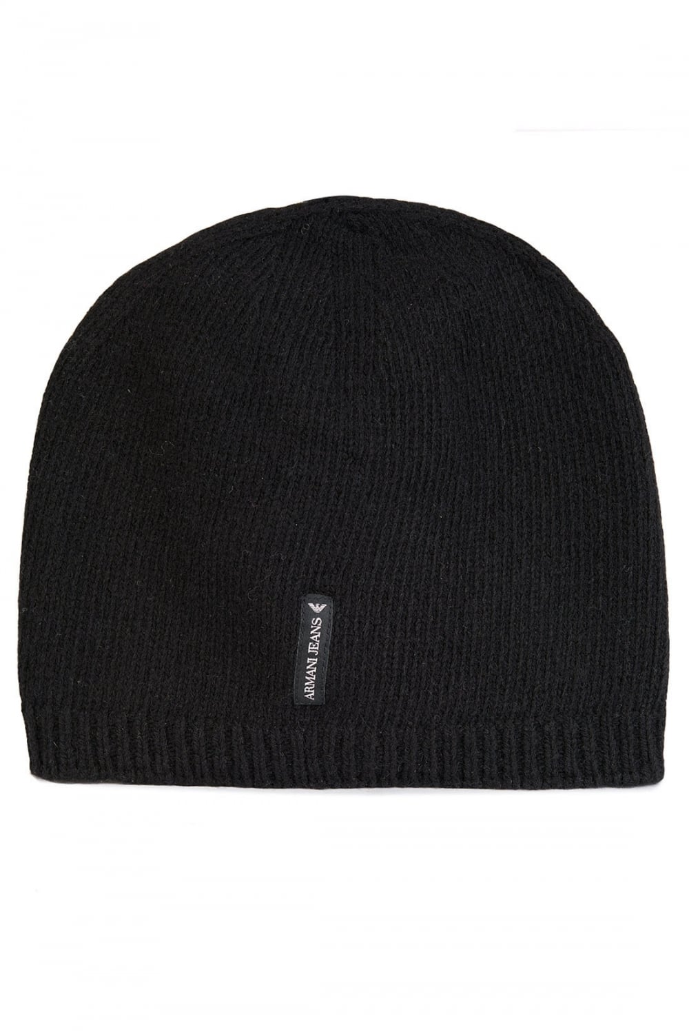 cb104b97 ARMANI Armani Jeans Tab Logo Cashmere Beanie Hat Black - Clothing from  Circle Fashion UK